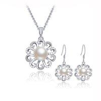 Acheter 925 ensembles de mariée-925 massif Bijoux d'eau douce Argent Set pour femmes, fleur de mariage nuptiale Jewelry Set SE00227 gros-
