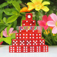 Wholesale 100pcs D6 MM side Dice Transparent RED with WHITE point automatic mahjong machine dice bosons IVU