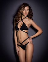 Wholesale New Pure Color Triangular Bandage Cross Swimsuit Sexy Enchanting Women Bikini Ladies Black Two Piece Swimsuit Beachwear