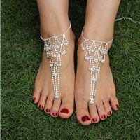 Wholesale Fashion Shining Crystals Beach Barefoot Sandals Beach Wedding Accessories Body Jewelry