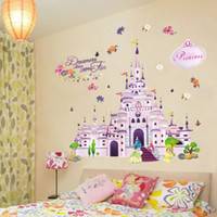 art castles - Dream Castle D Wall Stickers Removable Wallpaper for Kids Rooms Television DIY Cartoon Wall Art Decals Home Decoration Poster Sticker