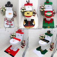 beige bathroom - 3pcs set Happy Santa Toilet Seat Cover Rug Snowman elf Bathroom Set elk Christmas Decorations For Home Christmas Ornament Z491