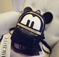 Wholesale Fashion School Bags Korean Version Of The Cartoon Character Mickey Mouse Ears With Two Backs Rivet Hip hop Street Girls Backpack