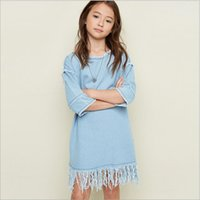 bebe denim - Fashion Teenager Denim Tassel Dresses Junior Wash Blue Half Sleeve Dress Big Babies Autumn Winter Christmas Dress bebe clothing