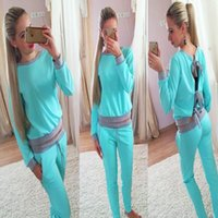 Wholesale 2016 autumn Sex women backless tracksuits pink blue pullover long sleeve tops and long pants