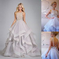 Wholesale New Design Stunning Ball Gown Prom Dresses Hayley Paige Bateau Neck Beading Ruffles Organza Tiered Backless Long Party Dresses