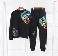 Wholesale 2016 mens fashion brand design tracksuits tiger print sports tracksuit pants sweat suits men s sets sport wear man hip hop clothing on sale