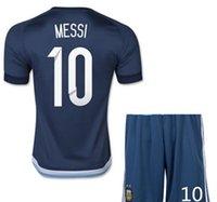 Wholesale Argentina Soccer Jerseys Chandal Argentina Jersey Shirt short Messi Aguero Soccer uniforms Set