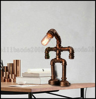 bar desks - Creative Personality Retro American Water Pipe Small Person Desk Lamp Table Lights Bar Cafe Decorative With Edison Light Bulb