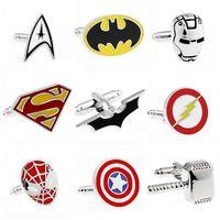 Wholesale Fashion Jewelry Style Cufflink Superman Star Wars Batman Spiderman Cuff Llinks for Male Female Mix Order