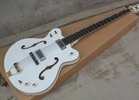Wholesale 2016 Nice New White String Semi Hollow Electric Bass with Gold Binding Gold Hardwares Offer Customized