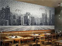 Городская архитектура черно-белая ручная роспись кирпичная стена 3d большие обои на стенах гостиная спальня обои живопись TV фон wa
