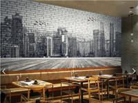 Городская архитектура черный и белый ручная роспись кирпичная стена 3d большие обои фрески гостиной спальня обои картины TV фон уа