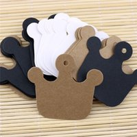 Wholesale Clothes Cards Price Tags - 6*5.5cm Crown Kraft Paper Clothes Price Hang Tags Wedding Party DIY Cards Xmas Gift Wrap Label Bookmark Blank Hand Luggage Tag