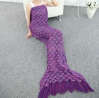 anti cling - New Pattern Mermaid Knitting Bring Tassels Fish Tail Cling To Blanket Sofa Air Conditioner Gift Carpet Tapestry Cotton Other