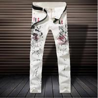 Precio de Los pantalones más el tamaño 24-2017 nueva manera de la caída blanco impreso jeans para hombres de alta calidad elásticas Vaqueros ajustados pantalones ocasionales de los hombres de la ropa vaquera para hombre Plus En general NXX137 Tamaño