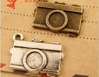 antique mobile phones for sale - A1186 MM Antique Bronze Retro camera charm pendant beads mobile phone accessories alloy jewelry Retro vintage charms for sale