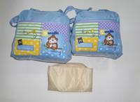 Wholesale 2016 NEW Baby Cartoon Baby Wet bag Baby cloth Shoulder Diaper Bags Nappy Mummy Bags Zip Waterproof Denim