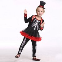 Wholesale 2016 European Skeleton Design Kid Halloween Costumes Girl Cosplay Halloween Decorations Kids Stage Wear Children Clothing Set