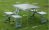 Wholesale Outdoor Aluminum Portable Foldable Camp Suitcase Picnic Table with Seats Silver