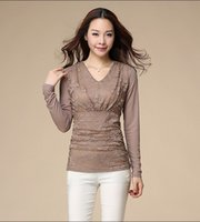 Wholesale In the new V collar shirt sleeve gauze thin section size all match lace yarn fat MM slim dress