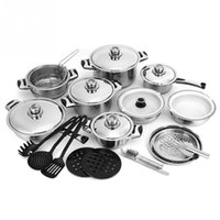Wholesale New Hot Sale Piece Set Stainless Steel Cookware Set Silver and Black Kitchen Tool Accessory