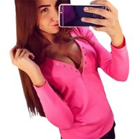 Wholesale Womens Sexy V neck Low Cut Long Sleeve Bodycon Shirt Tight Tees Fashion Suit