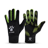 Wholesale Kelme K15Z911 Men Professional Windproof Cold proof Rubber Football Training Goalkeeper Gloves Black Fluorescent Green
