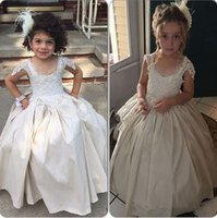 ball beauty - Satin Ball Gown Girls Pageant Dresses Lace Appliques Ivory Flower Girls Dresses Beauty Kids Party Gown