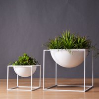 Wholesale White Modern Tabletop Vase Metal Square Flower Pot Tray Pergola Garden Planting Flower Home Christmas Wedding Decoration