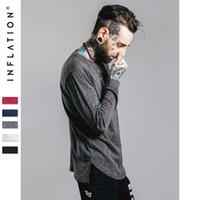 bell inflation - INFLATION Brand Bamboo Cotton O neck Streetwear Full Sleeve Length t shirt Men Solid Color Hip Hop Long Regular T shirt