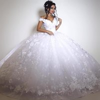 Wholesale 2K17 Sexy Off Shoulder White Lace Wedding Dresses Ball Gown V Neck Appliqued Sexy Backless Floor Length Bridal Party Celebrity Gowns