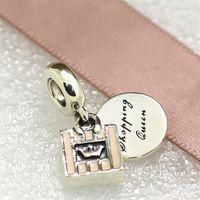 achat en gros de boutiques de charme-2016 Bead Charm Automne Argent 925 Panier Reine Dangle avec Pink Enamel Cz Fits Pandora européenne Bracelets Bijoux Colliers