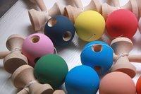 Wholesale 20piece hole cm jumbo kendama Matt Beech sword skill ball elastic ball ball skill jade sword Rubber paint High friction DHL