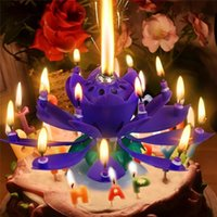 Wholesale 4pcs Magical Flower Happy Birthday Blossom Lotus Music Candle Romantic Birthday Gift Party Supply Cake Toppers