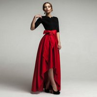 asymmetrical skirts - Carmen Maxi Dress Formal Asymmetrical Skirt Evening Dress with Bow New Arrival High Quality Satin