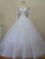 Wholesale Wedding Dress Plus Size Vestido De Noiva Foto Real Off the Shoulder Ball Gown Long Sleeve Wedding Dresses