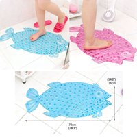 Wholesale 72 x cm Bathroom PVC Non slip Mat with Fish Shape Waterproof Floor Suction Bath Mat Pad Anti skid Toilet Shower Safety Colors