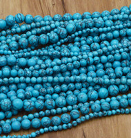Wholesale 16 high quality Natural Gemstone Blue Turquoise Round Spacer Loose Beads mm mm mm mm mm