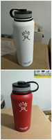 Wholesale 32 oz Hydro Flasks Bottle Wide Mouth Flat Cap Travel Mug Double wall Vacuum Insulated Stainless Steel Water Bottle with Stock