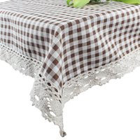 Wholesale 90 x cm Square Lattice Linen Tablecloth Grid with Cotton Lace Coffee Table Cloth Cover Towel for Dining Room Cafe Decorative Covering