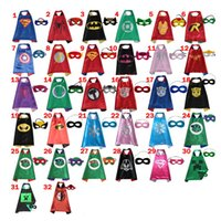 capes - 2016 CM Double Side Kids Superhero Capes with Masks Batman Spiderman Ninja Turtles Captain America for Kids Halloween