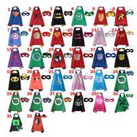 Wholesale 2016 CM Double Side Kids Superhero Capes with Masks Batman Spiderman Ninja Turtles Captain America for Kids Halloween