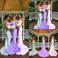 Wholesale 2016 Cheap Bridesmaid Dresses Long Sweep Satin Mermaid Evening Gowns Spaghetti Straps Applique Backless Formal Party Prom Dress