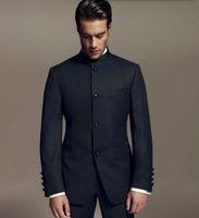 Wholesale Latest Designs Bruce Lee Style Groom suits Tuxedos black Mandarin collar Men Wedding suits Dinner Suits jacket pants