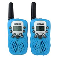 Wholesale 2016 New Sky Blue Walkie Talkie RT UHF MHz W CH For Kid Children LCD Display Flashlight VOX Two Way
