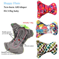 Wholesale 10pcs Happy Flute Newborn Diapers Reusable Tiny AIO Cloth Diaper Bamboo Charcoal Double Gussets Fit KG Baby