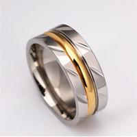 8MM Jamais Fade anneau titanyum 18k plaqué or en acier inoxydable 316L Anneau Acier Titane Engagement