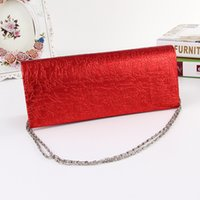 Wholesale Women PU Purse Handbag chain small Evening Bag Luxury oblong shaped Bag Female women Handbag new style Party weddings bag gold red pink