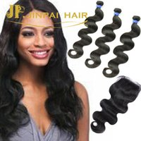Wholesale malaysian top lace closure and three bundles body wave human hair weaving total bundles within one set dhl